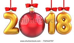 Happy New Year 2018 banner with red ribbon and bow. Text 2018 made in the form of a golden and red Christmas ball. 3D illustration of traditional festive Xmas bauble. Merry Christmas and Happy New