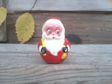 Kitsch Roly Poly Santa Claus by Kiddie Products - Retro Mid Century Christmas Decorations