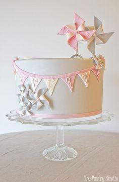 Pastel Pink Grey Pinwheel Birthday Cake