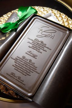 Belgian Chocolate Menu Cards Custom Made by Donnie Brown Weddings and Events
