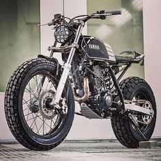 """bike-exif: """"looks like a bundle of fun, doesn't it? According to builders Kyle Scott and Chris Clokie, """"The idea was to produce a stripped down, street-legal custom bike inspired by the flat track racing scene."""" The rider is a lady new to the. Xt 600 Scrambler, Ducati Scrambler, Motos Yamaha, Scrambler Motorcycle, Moto Bike, Tracker Motorcycle, Motorcycle Adventure, Scrambler Custom, Street Scrambler"""