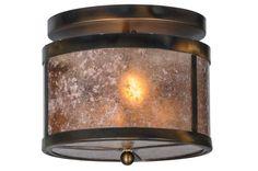 "Meyda 147377 - 11.5""W Smythe Craftsman Silver Mica Flushmount Light"