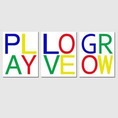 Play Love Grow  Set of Three 8x10 Modern Typography by Tessyla, $55.00