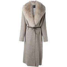Lanvin fox fur collar coat (145.600 RUB) ❤ liked on Polyvore featuring outerwear, coats, fur coat, lanvin, long sleeve coat, brown fur coat and lanvin coat