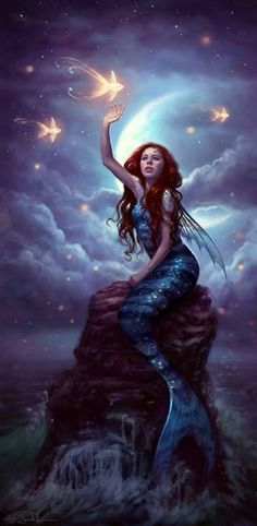 Little Mermaid Art Mermaid has been a mythical and legendary creature in culture for thousands of years. Today the artist continues the legends in various forms, esp. in fantasy art, Mind Blowing Examples of Mermaid Art Fantasy Mermaids, Mermaids And Mermen, Mermaids Exist, Real Mermaids, Fantasy World, Fantasy Art, Fantasy Quotes, Mermaid Fairy, Siren Mermaid