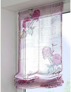 vouwgordijn transparant met bloemmotief