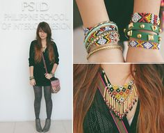 Made By Indigenous People Beaded Aztec Bracelets, Made By Indigenous People Beaded Native Neclace, Accessorize Boho Sling Bag, Thrifted Blanck Knitted Cardigan, Terranova Printed Tights