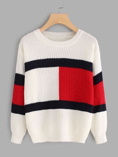 Shop Drop Shoulder Color Block Knit Sweater at ROMWE, discover more fashion styles online. White Knit Sweater, Color Block Sweater, Sweater Design, Long Sleeve Sweater, Ideias Fashion, Pullover, Knitting, Stylish Clothes, Stylish Outfits