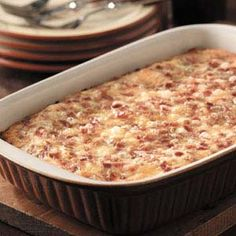 Cheesy bacon and egg casserole! I made this last year for Thanksgiving breakfast and it was a hit!