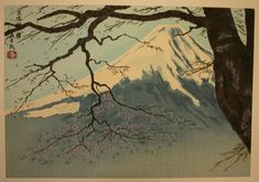 Tokuriki, Tomikichiro, The Cherry Blossoms of Mt. Shigi in Nara Prefecture (The Eight Views of Japan), n.d. (c. 1950s), Color woodblock print (oban). Smart Museum of Art, The University of Chicago, Gift of Brenda F. and Joseph V. Smith, 2004.178b.