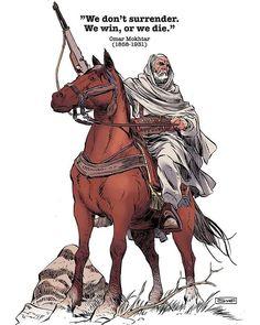 Omar Mokhtar, true fighter and hero from Libya. Drawn with nib pen and ink, colored digitally. Apostles Creed, Anime Muslim, Islamic Paintings, Islamic Wall Art, Cartoon Boy, Islamic World, Pencil Art Drawings, Beautiful Horses, Character Art
