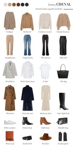French Capsule Wardrobe, Winter Wardrobe, Wardrobe Basics, Fall Wardrobe, Fashion Capsule, Fashion Basics, Fashion Vocabulary, Casual Outfits, Fashion Outfits
