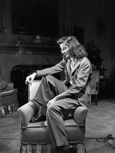 Katherine Hepburn in a menswear style suit, 1938  The woman who dared to wear pants adds a jacket to the mix.