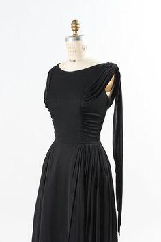 1960s Black Rayon Dress