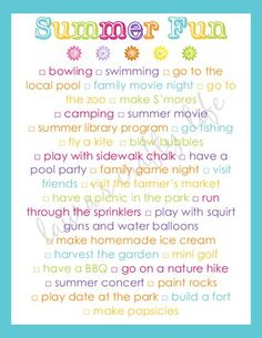 Summer Fun free printable bucket list for families and kids
