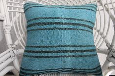 Overdyed Kilim Pillow Cover 16x16 Turquoise Pillow Vintage Turkish Kilim Pillow handmade pillow Decorative Kilim Pillow Kilim Pillow 891