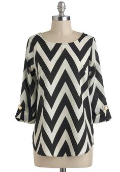Zoom Bisou Top in Black Chevron, @ModCloth