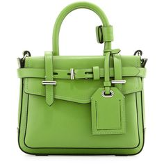 Reed Krakoff Boxer Micro Tote Bag ($790) ❤ liked on Polyvore featuring bags, handbags, tote bags, purses, green, handbags totes, tote handbags, tote bag purse, hand bags and tote hand bags