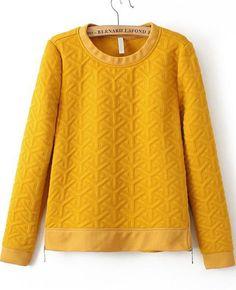 Shop Yellow Long Sleeve Zipper Jacquard Sweatshirt online. Sheinside offers Yellow Long Sleeve Zipper Jacquard Sweatshirt & more to fit your fashionable needs. Free Shipping Worldwide!