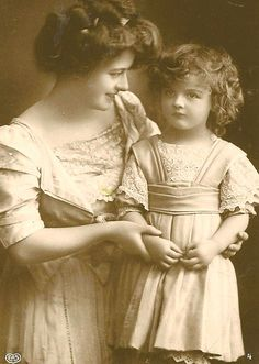 Victorian era mother and daughter photograph