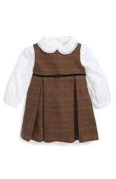 Ralph Lauren Sleeveless Tweed Dress   Peter Pan Collar Top (Baby Girls)    Nordstrom b0223b0316f