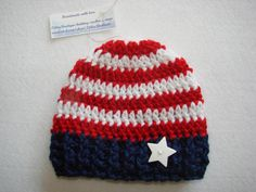 Items similar to Patriotic American Flag baby boy beanie hat dark blue navy  white red 4th of July hand crochet newborn 0-3 months shower gift phopo  prop on ... ad7ea301c103
