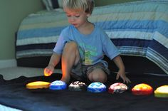 Push Light Planets | Activities For Children | Paint Play, Rainy Day Play, Theme-based play | Play At Home Mom