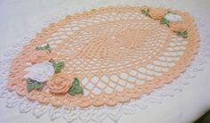 Rosas Pêssego Oval Toalhinha De Crochê Por aeshagirl