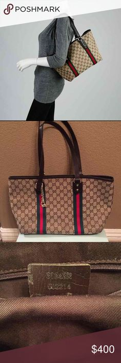 Gucci Canvas Tote! I've had this for quit for some time, not sure how old it is. Last time I remember carrying it was about 9 years ago. It was a gift from one of my daughters friends parents. I never questioned its authenticity. Measures about 16.5x9.5. Questions please ask. Gucci Bags Totes