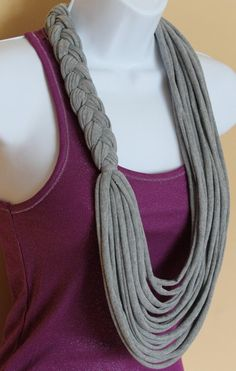 Gray Braided Floral Necklace Scarf Tshirt by Handmadebyjojaecks, Yarn Necklace, Braided Necklace, Fabric Necklace, Scarf Jewelry, Floral Necklace, Textile Jewelry, Fabric Jewelry, Braided Scarf, Necklaces