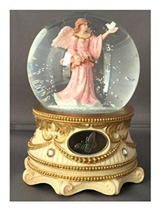 Guardian Angel with Pink Flowing gown holding Dove - Sculptured Resin Water Ball Music Box
