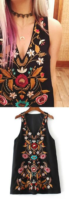 The embroidery is perfection on this gypsy dress.  Love all the little details and colors!