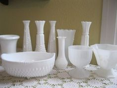 Vintage Milk Glass Lot of Vases,Dishes and Bowls - Great for Wedding Centerpieces and More
