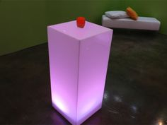ILLUMINTED PEDESTAL  wireless LED lighting *color of choice     Product #	: PED-013-ILLUMINTED  Dimensions:   ASSORTED SIZES:  18''SQ x 36''H  18''SQ x 42''H  18''SQ x 48''H  16''SQ x 45''H  30''SQ x 24''H  Pieces Avail: (4); 18''SQ x 36''H (18) 18''SQ x 42''H; (3) 18''SQ x 48''H; (1) 16''SQ x 45''H