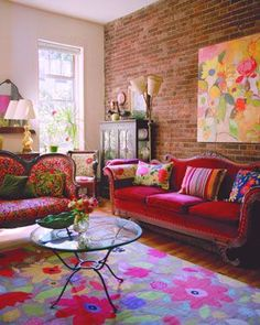 to accessorize any space décor The living room is brightened by many of Kim's designs - in the form of cushions, paintings and a large rug.The living room is brightened by many of Kim's designs - in the form of cushions, paintings and a large rug. Decor, Space Decor, Living Room Colors, Furniture, Interior, Home Decor, House Interior, Room Decor, Home Deco