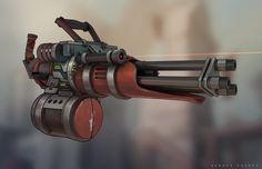 Minigun concept, Sergey Vasnev on ArtStation at https://www.artstation.com/artwork/minigun-concept-92fe7e5d-03ca-41de-8592-93bed82c3c53