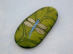 Blue dragonfly, chartreuse green leaf, painted rock, unique 3D art, handmade paperweight by RockArtiste