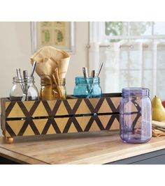 #DIY Storage Solution | Store Make-up Brushes, Pencils, Craft Tools, etc. in Mason Jars and keep them out of the way in a decorated crate | Supply List and Directions available at Joann.com