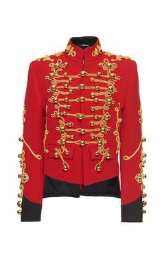 Menswear Inspired Embellished Military Jacket by DOLCE & GABBANA for Preorder on Moda Operandi