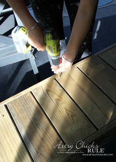 Simple DIY Outdoor Bench (thrifty project - recycled wood) - Artsy Chicks Rule®