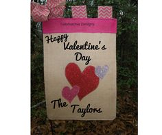 Valentine's Day Garden Flag Burlap Heart by TallahatchieDesigns