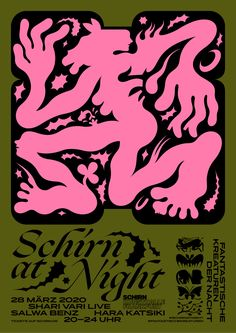 """Visual identity for SCHIRN AT NIGHT.A biannual party at SCHIRN KUNSTHALLE in Frankfurt, Germany. This time the party should've been themed """"Fantastic Creatures of the Night"""" accompanyingthe big exhibition """"Fantastic Women"""" which is showing the remarkab… Diy Poster, Poster Art, Poster Layout, Typography Poster, Layout Book, Design Typography, Event Poster Design, Graphic Design Posters, Graphic Design Inspiration"""