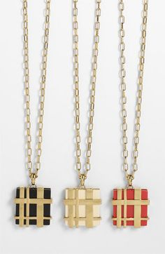 """Tory Burch """"Gingham"""" pendant... if only my husband followed me on Pinterest he'd know EXACTLY what to get me. $225."""
