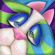 cat+artwork | Art: Box Cat Blues (SOLD) by Artist Alma Lee
