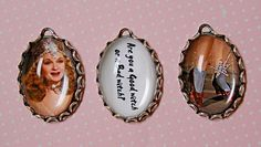 Handmade Photo charms-3 pcs// WIZARD of OZ-GLINDA the Good Witch Charm set in 25X18mm trinity antique brass settings. $7.50, via Etsy.
