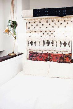 Moroccan wedding blanket as headboard