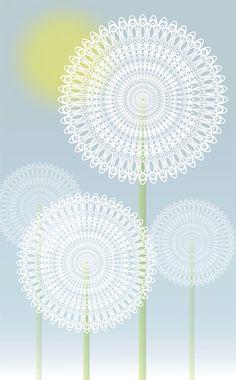 Dandelions 8 x 12 geometric print of by megdowntherabbithole, $42.00