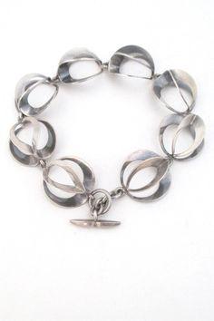N E From Denmark Scandinavian modernist silver looped links bracelet