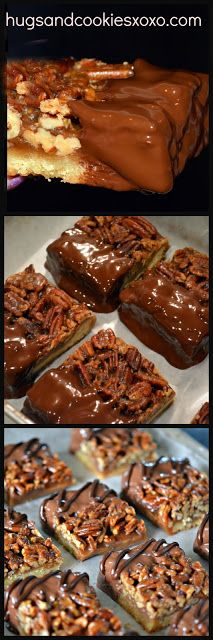 Pecan Pie Bars Dipped in Milk Chocolate & Drizzled with Dark Chocolate - Hugs and Cookies XOXO