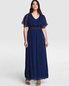 Vestidos de noche para gorditas: fotos de los modelos - Vestido de fiesta de mujer talla grande Couchel con pedrería